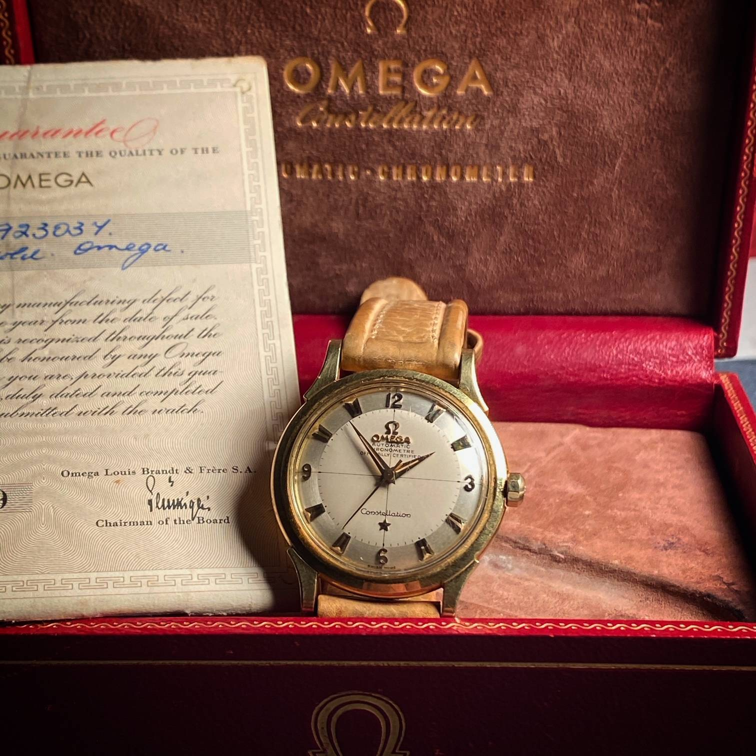 OMEGA CONSTELLATION PIE PAN BOX & PAPER ' BARN FIND '-3
