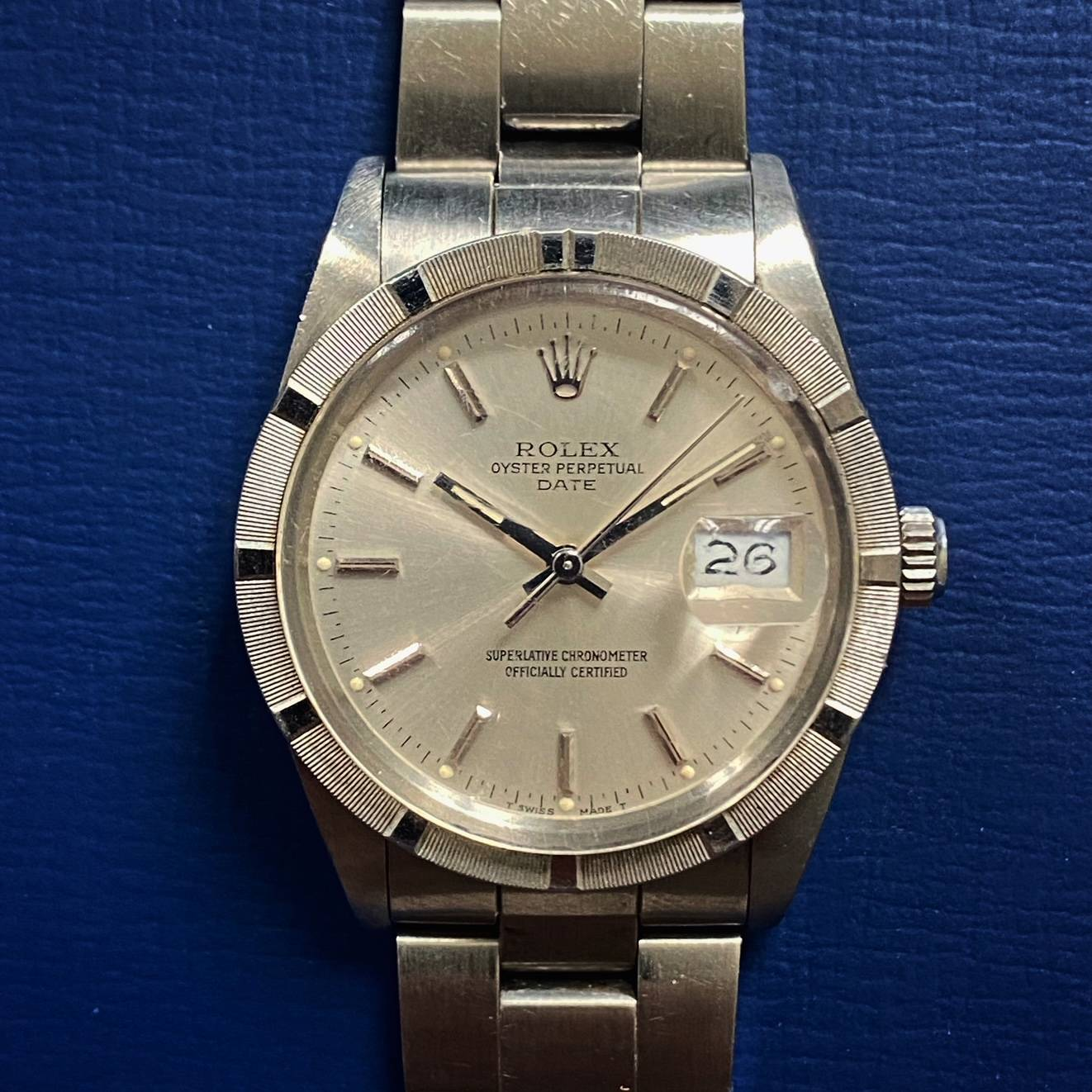 ROLEX OYSTER PERPETUAL DATE ENGINE TURNED BEZEL-1