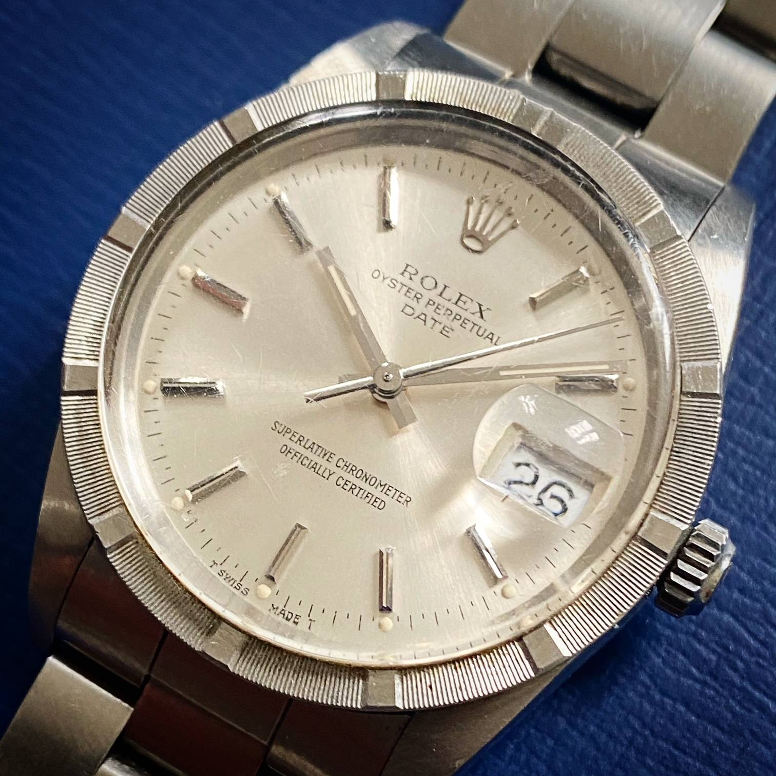 ROLEX OYSTER PERPETUAL DATE ENGINE TURNED BEZEL-3