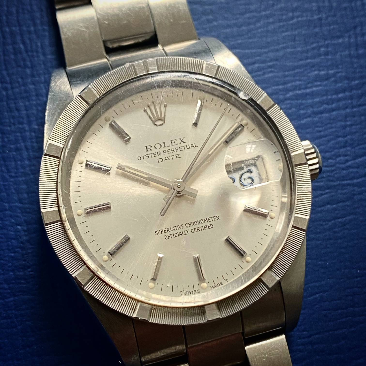 ROLEX OYSTER PERPETUAL DATE ENGINE TURNED BEZEL-2