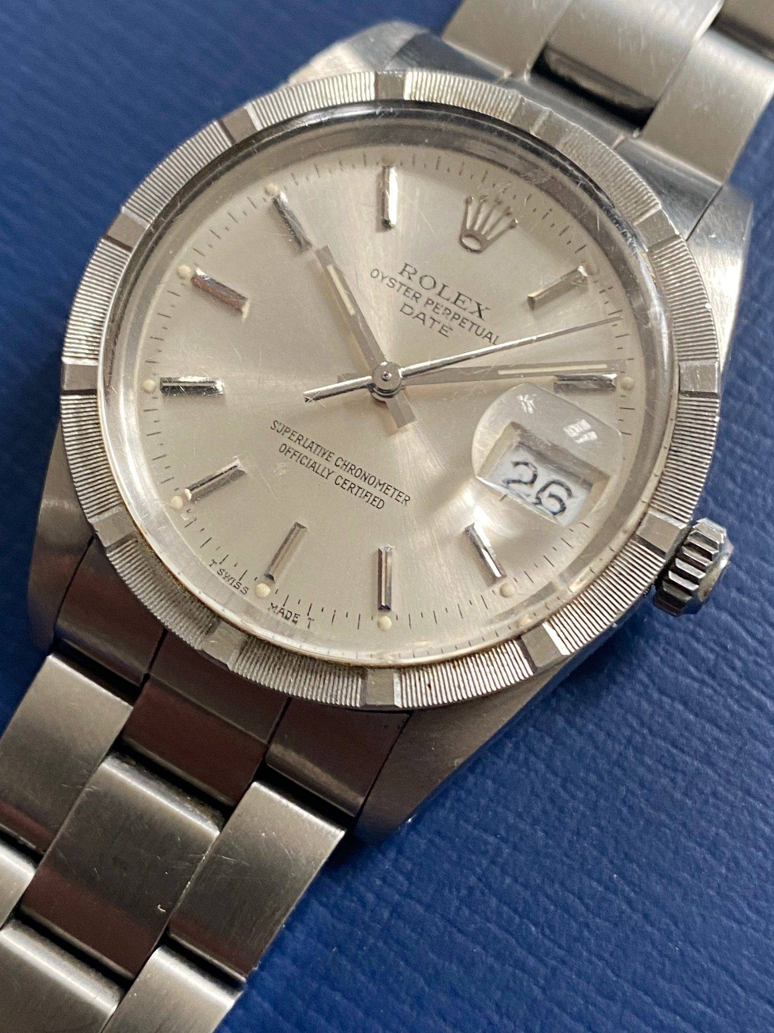 ROLEX OYSTER PERPETUAL DATE ENGINE TURNED BEZEL-7