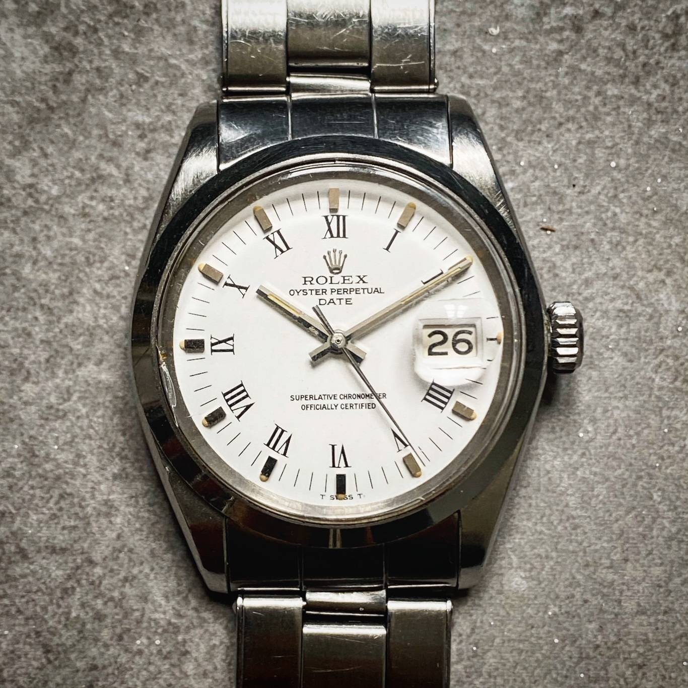 ROLEX OYSTER PERPETUAL DATE ' BUCKLEY DIAL '