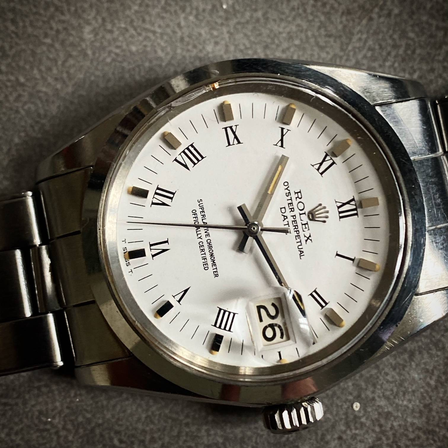 ROLEX OYSTER PERPETUAL DATE ' BUCKLEY DIAL '-4