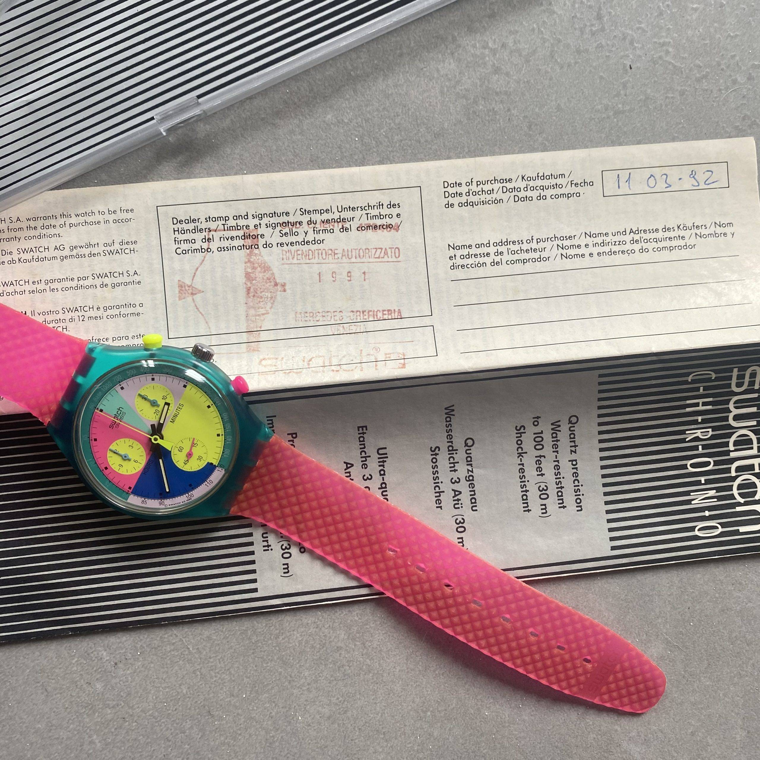 SWATCH VINTAGE FLASH ARROW BOX & PAPERS-4